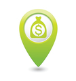 dollar in bag icon green map pointer vector image vector image