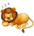 Cute lion sleeping alone vector image vector image