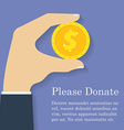 Gold dollar coin icon in man hand Donation giving vector image