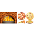 Set of pizza and stone oven vector image vector image