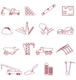 construction and work simple outline icons set vector image
