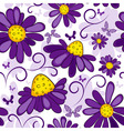 floral seamless white violet pattern vector image
