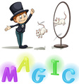 Magician showing his tricks vector image