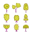 Set of cartoon stylized tree icons vector image