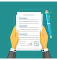 Business design Hands holding contract Flat vector image