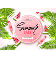 summer sale banner poster with palm leaves vector image
