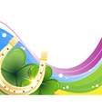 Golden horseshoe and clover vector image