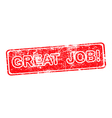 great job red grunge rubber stamp vector image