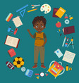 african american boy with school supplies vector image