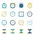 Clock icon flat set vector image