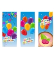 Color Glossy Happy Birthday Balloons and Cake vector image