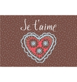 Declaration of love in French Openwork heart vector image