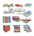 set of different books encyclopedia dictionary vector image