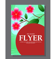 Red flowers on a flyer Can be used as greeting vector image
