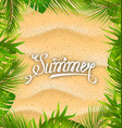 natural frame with sandy texture and exotic leaves vector image vector image