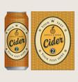 label for apple cider on basket background vector image