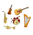 Set of classic musical instruments vector image vector image