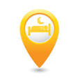 Map pointer with hotel icon vector image