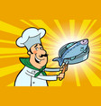 chef cook character with roasted fish vector image
