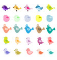 cute birds on white background vector image