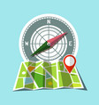 map with red mark and compass icons vector image