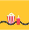 popcorn box soda glass with straw film strip line vector image