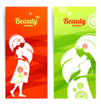 Banners with silhouette of pregnant woman vector image