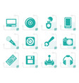 stylized computer and mobile phone elements icons vector image