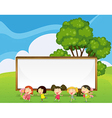 A big empty signboard at the back of the kids vector image vector image