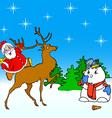 santa claus rides on deer and snowman vector image