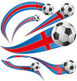 iceland flag with soccer ball vector image vector image