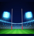 stadium with lights and rugby goal eps 10 vector image