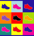 boot sign pop-art style colorful icons vector image