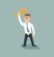 businessman is holding a Cup over his head vector image