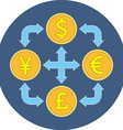 Currency exchange concept Flat design Icon in blue vector image