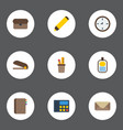 flat icons contact highlighter letter and other vector image