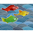 Group of fish on waves vector image