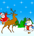 santa claus rides on deer and snowman vector image