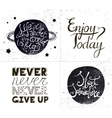 set of inspirational quotes hand drawn vector image