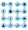set of simple dress icons vector image