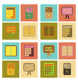 assembly flat icons office pins notebook vector image