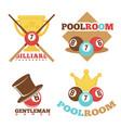 billiard pool club poolroom labels vector image