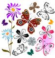 set butterflies and flowers vector image vector image