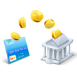 Money transfer between card and bank vector image vector image