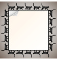 frame with silhouette black cat vector image vector image