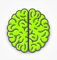 cartoon green brain sign clean vector image