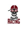 skull racer with flame glasses vintage design vector image