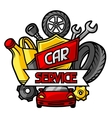 Car repair concept with service objects and items vector image