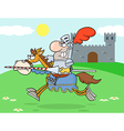 Knight Riding Horse In The Background vector image vector image