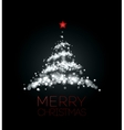 Shiny Christmas tree in black poster vector image